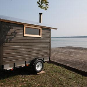 mobile sauna at the lake