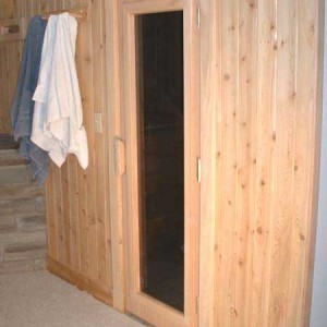 Basement sauna with full lite door