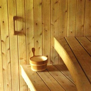 Sauna room with curved white cedar benche