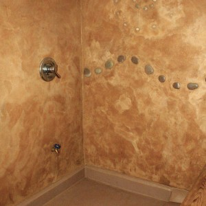 Shower Area with Colored Stucco