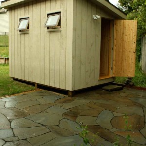 Free Standing Electric Sauna with Stone Patio
