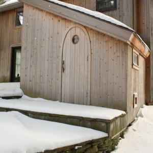 Wood Burning Sauna with custom arched door