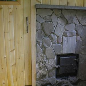 Stone work around stove