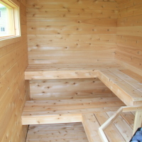 interior of trailer sauna by Rob Licht